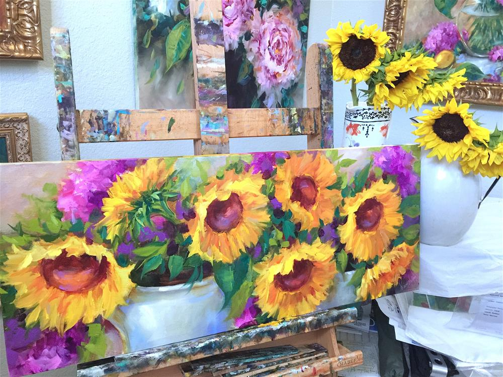 """Summer Garden Sunflowers and Painting Brilliant Colors"" original fine art by Nancy Medina"