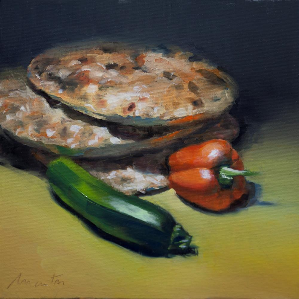 """Courgette and Morrocan bread"" original fine art by Thierry Monter"