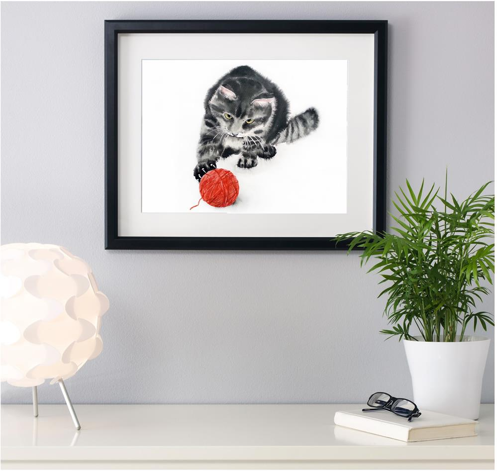"""""""Cat playing with a ball of wool"""" original fine art by Olga Beliaeva"""