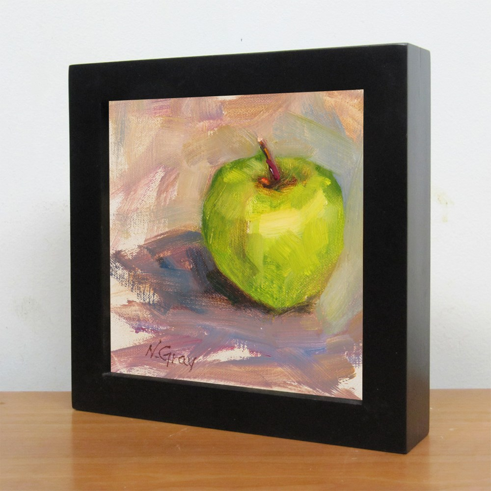 """Green Apple"" original fine art by Naomi Gray"