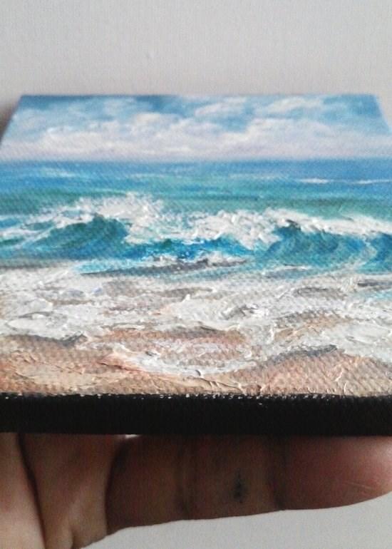 """Beach Waves Sea Ocean Seascape"" original fine art by Camille Morgan"