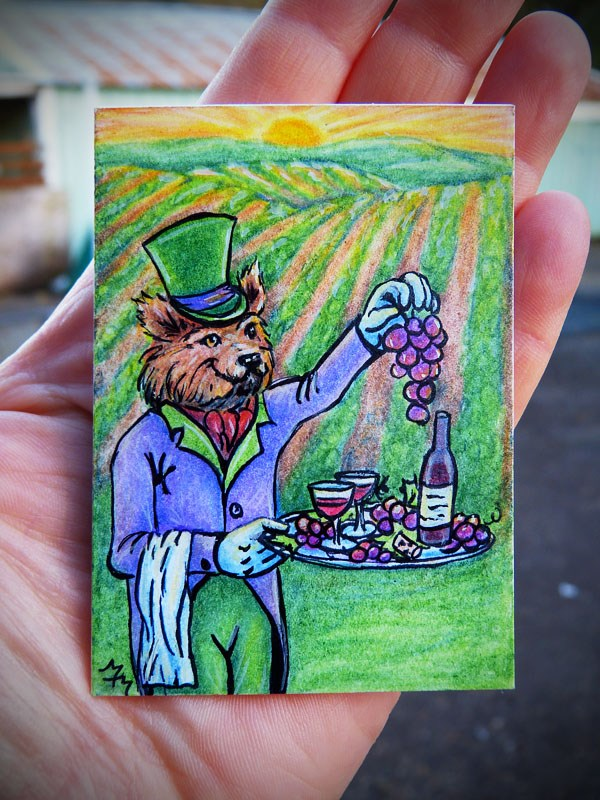 """Foxy Vineyard Butler  - CP16"" original fine art by Monique Morin Matson"