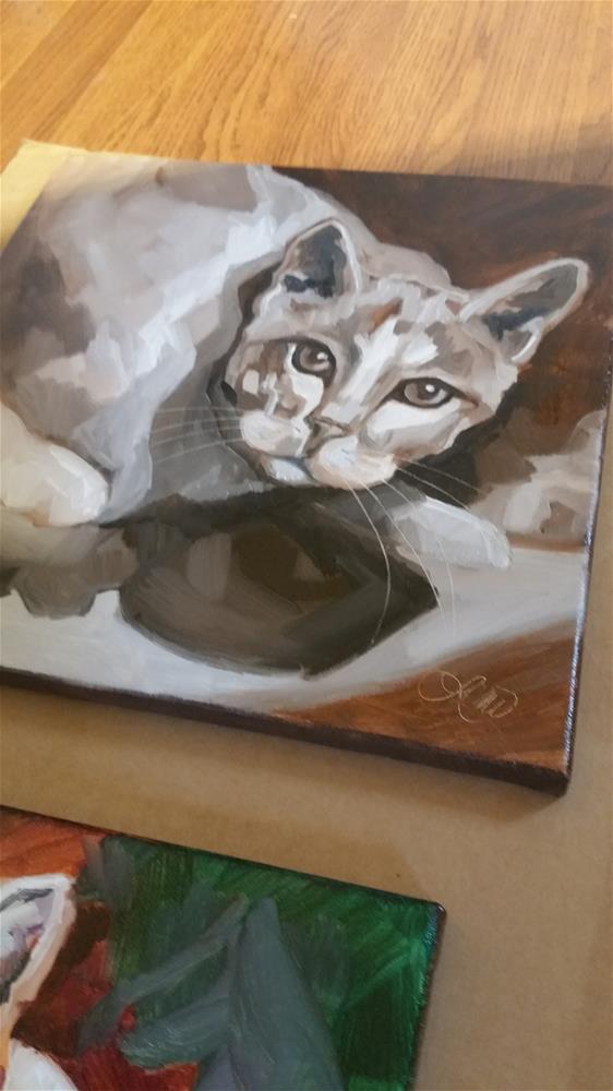 """Coffe and Cream Kitty"" original fine art by Leni Tarleton"