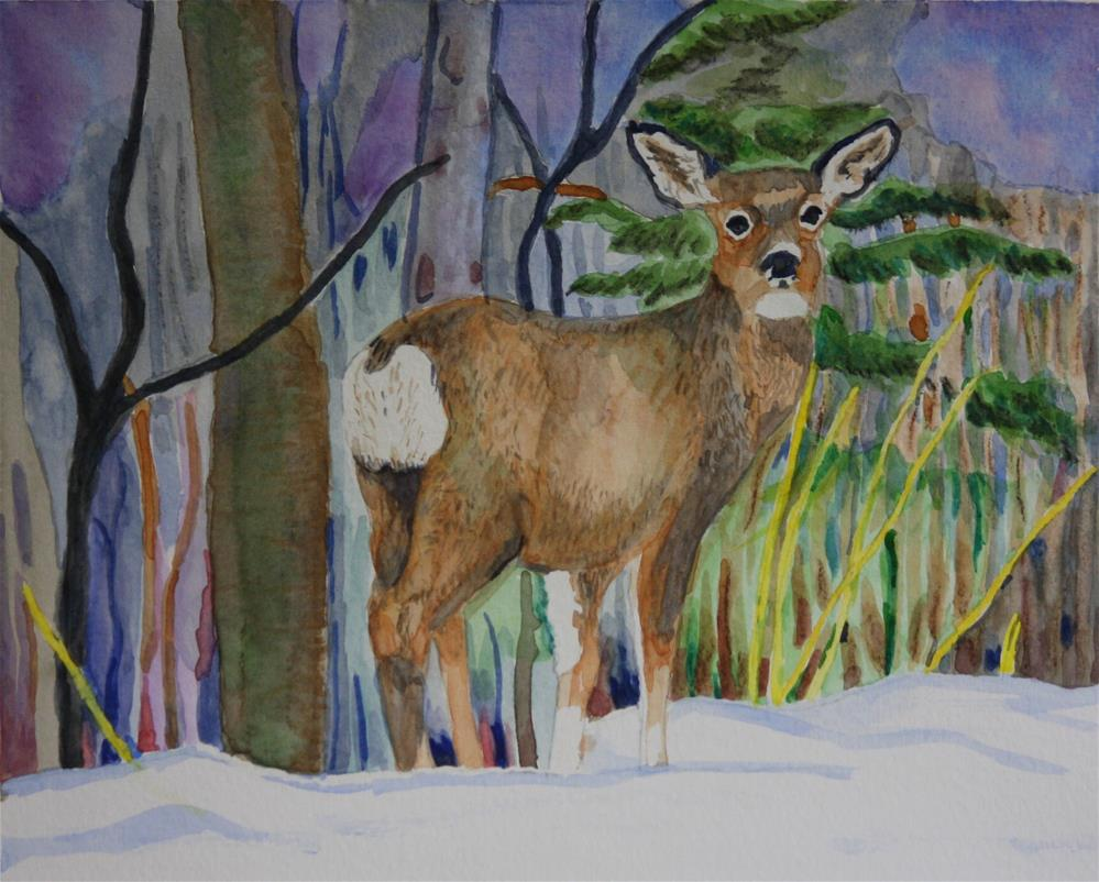 """Deer on the Ridge"" original fine art by Terri-Anne Barge"