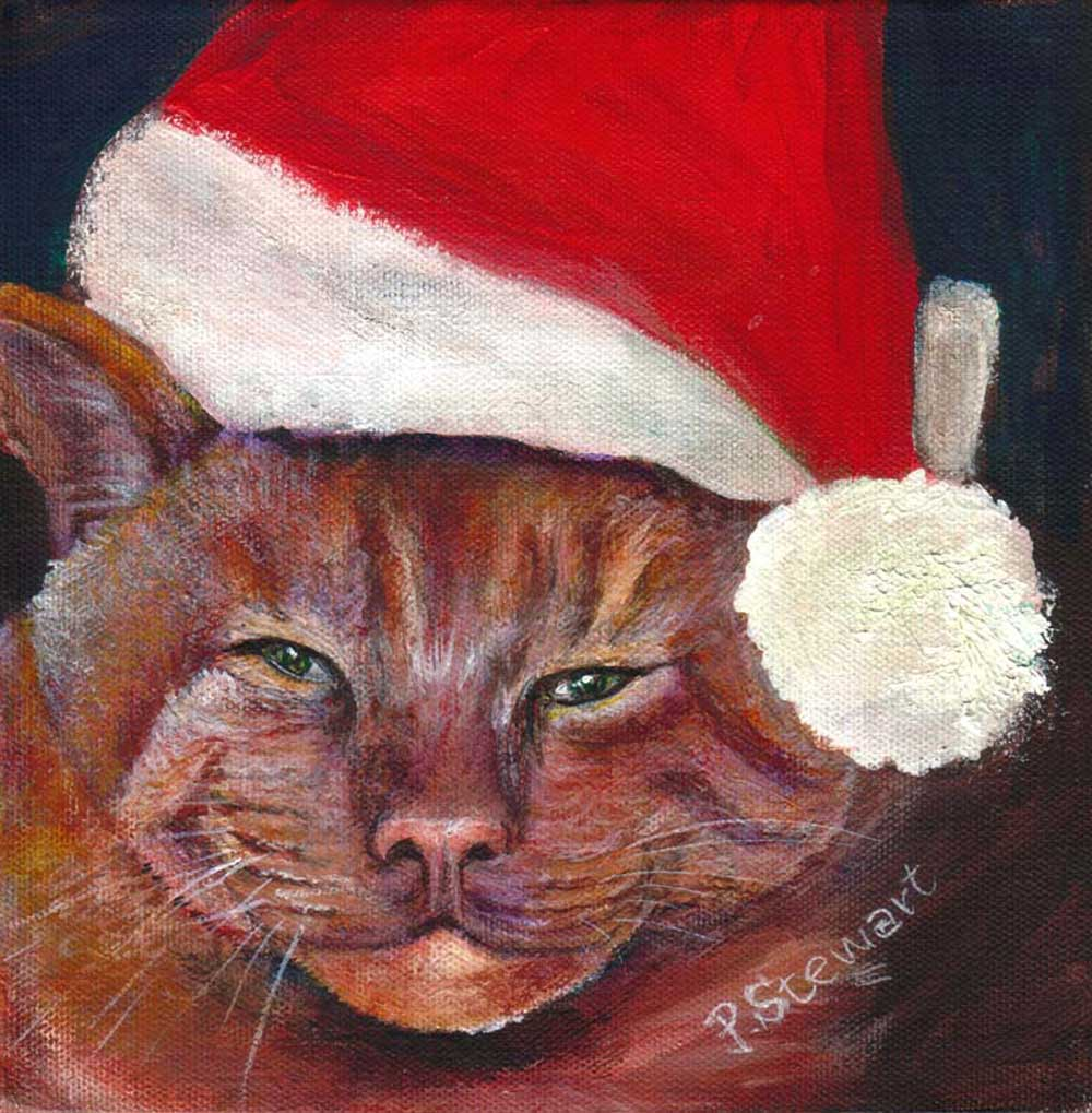 """""""Junior, The Bad Cat, Ready for Christmas."""" original fine art by Penny Lee StewArt"""