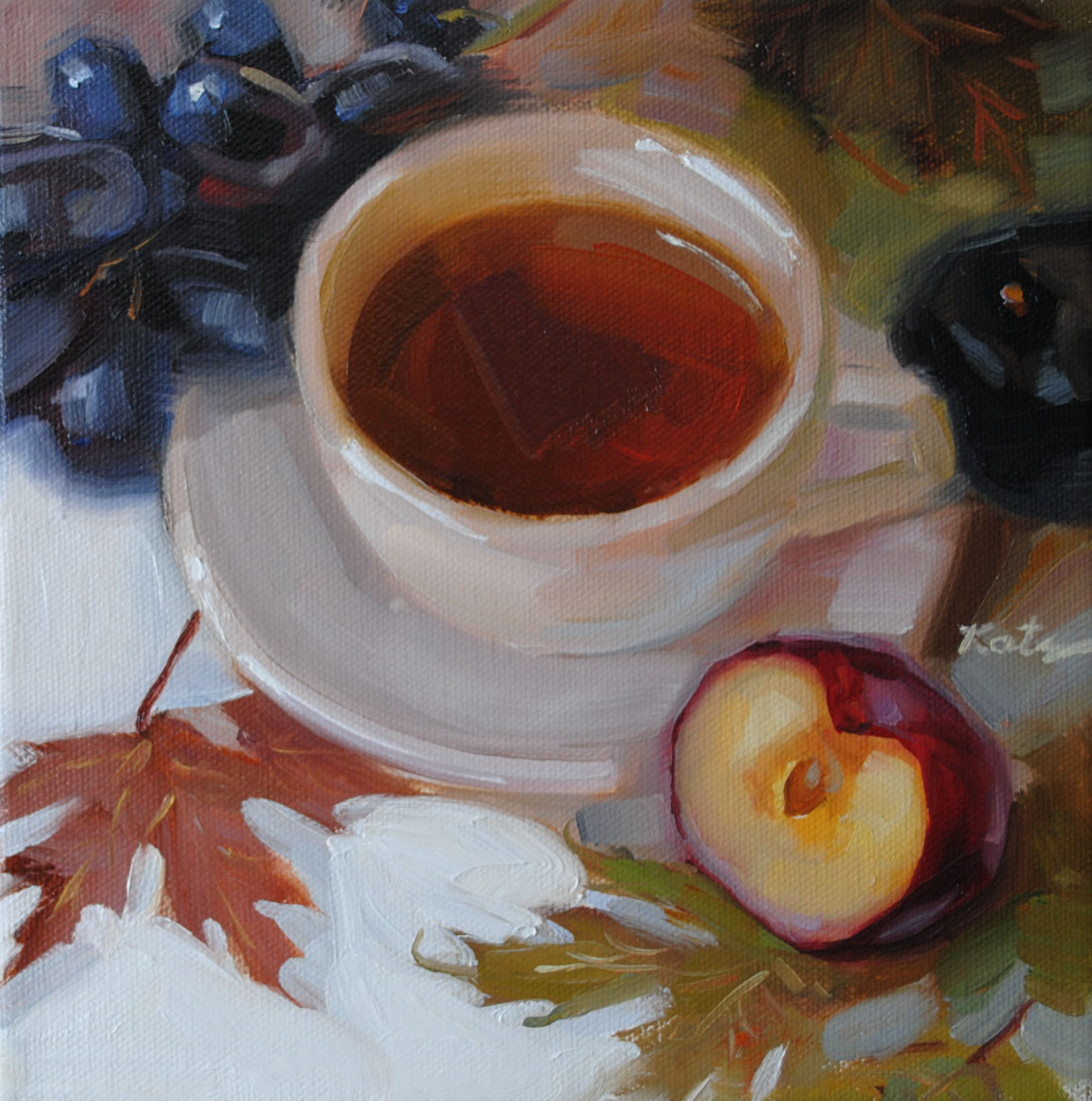 """Tea & Plums"" original fine art by Elena Katsyura"