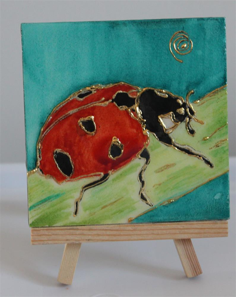 """Natur's Little Gems Miniature: Ladybug M"" original fine art by Christiane Kingsley"