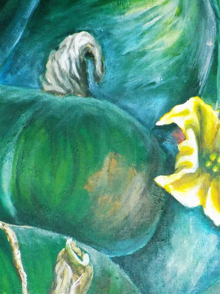 """Green Squash Green pumpkin painting"" original fine art by tara stephanos"