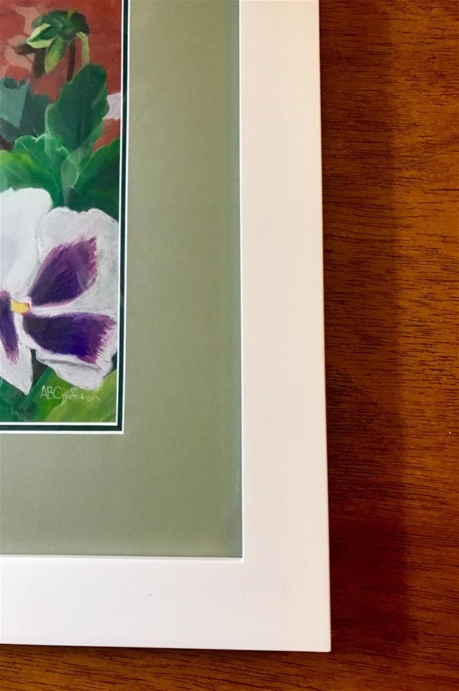 """""""Pansy Trio (matted and framed)"""" original fine art by Arlene Crafton"""