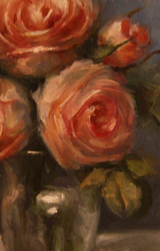 """Still Life with Peach Roses"" original fine art by Carolina Elizabeth"