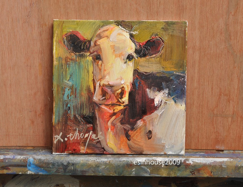 """6x6""Animals Oil Painting Cow portrait Original Painting art impressionism Farm"" original fine art by Thomas Xie"