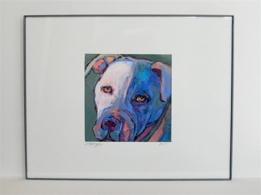 """framed pit bull"" original fine art by Vicki Wood"