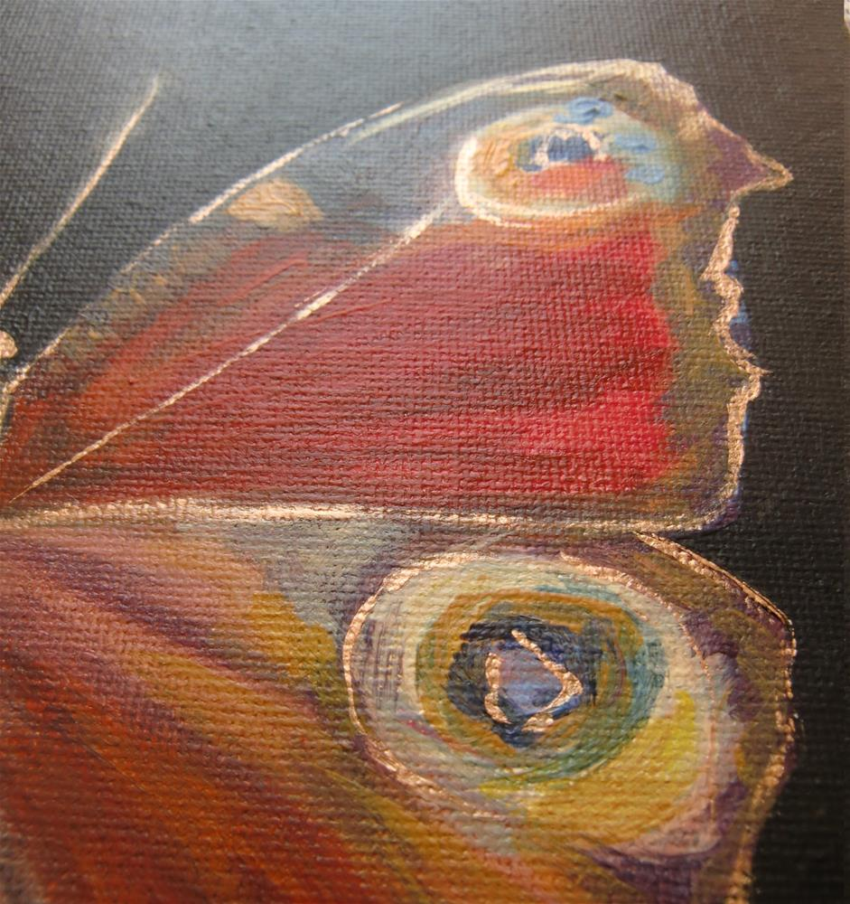 """3132 - Mounted - Peacock Butterfly - Butterflies Series"" original fine art by Sea Dean"
