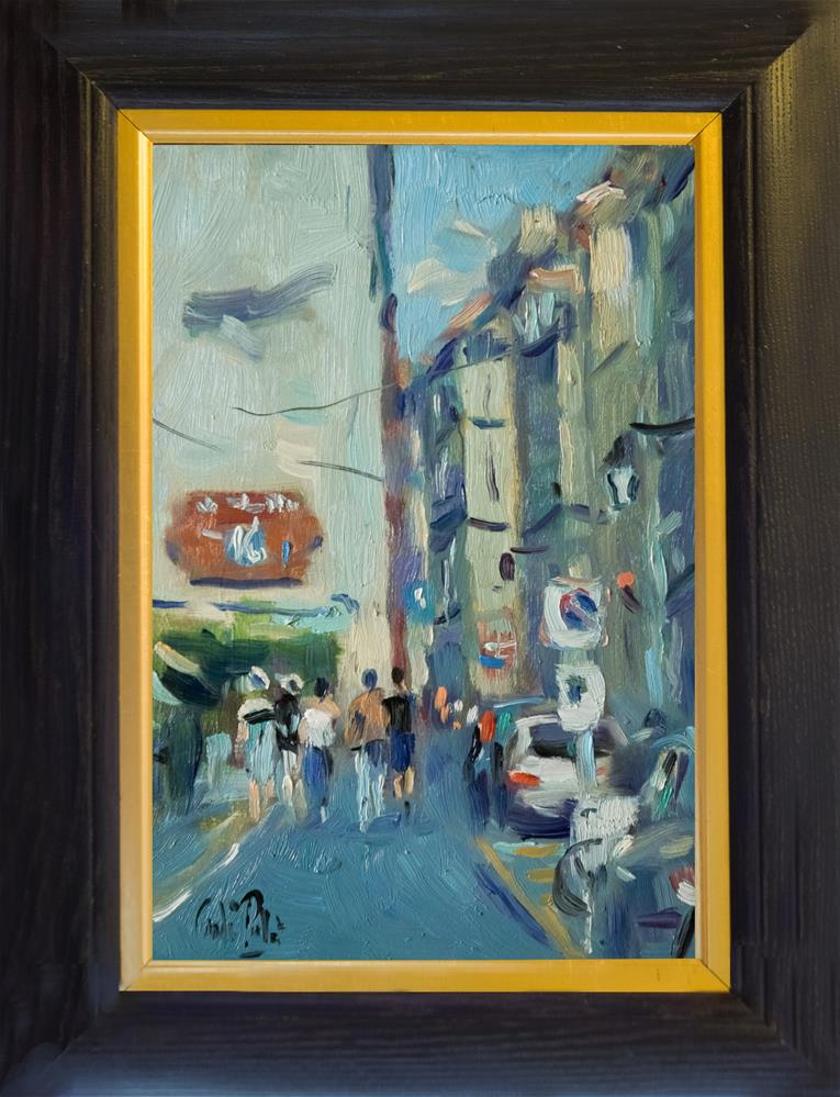 """Street in Arles with Red Sign"" original fine art by Andre Pallat"