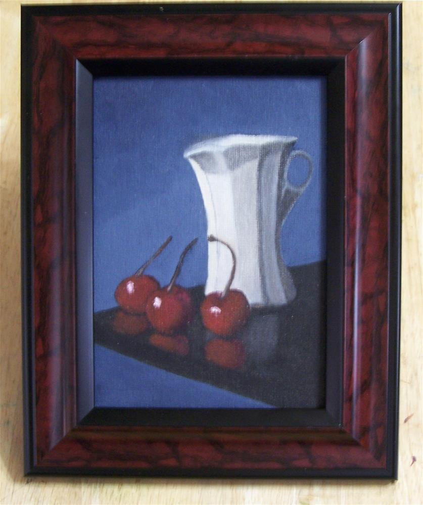 """Cherries and Pitcher Framed"" original fine art by John Marcum"