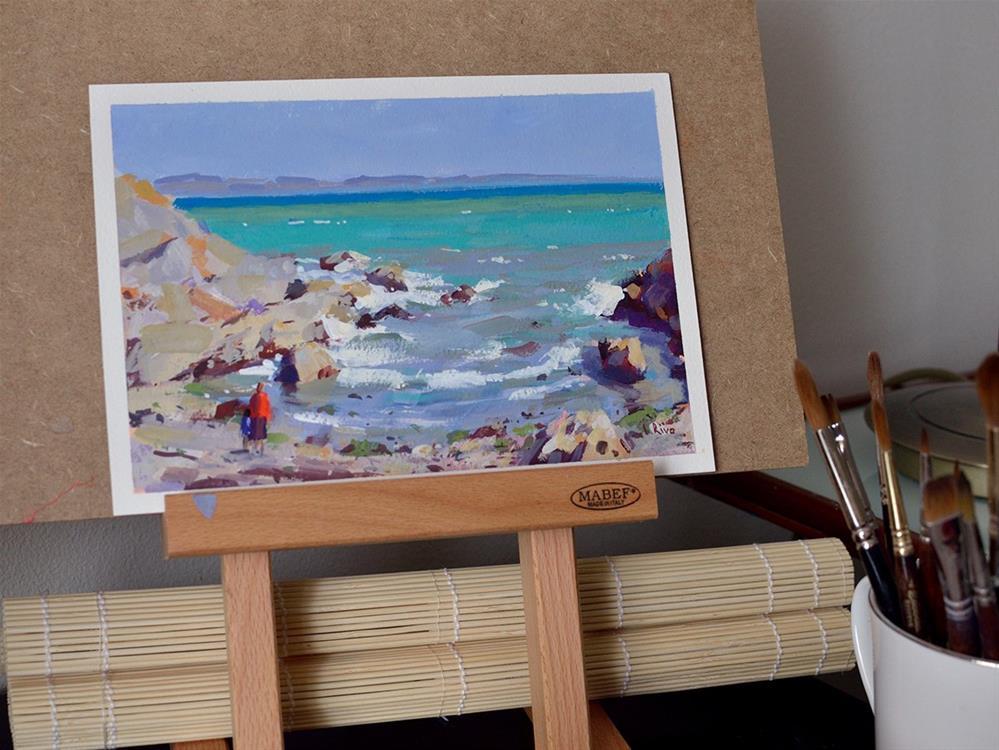 """""""Green Sea"""" original fine art by Lena  Rivo"""