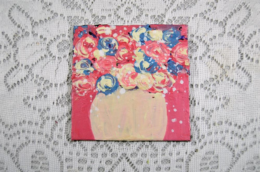 """Pink and Blue Flower Series No 41"" original fine art by Katie Jeanne Wood"