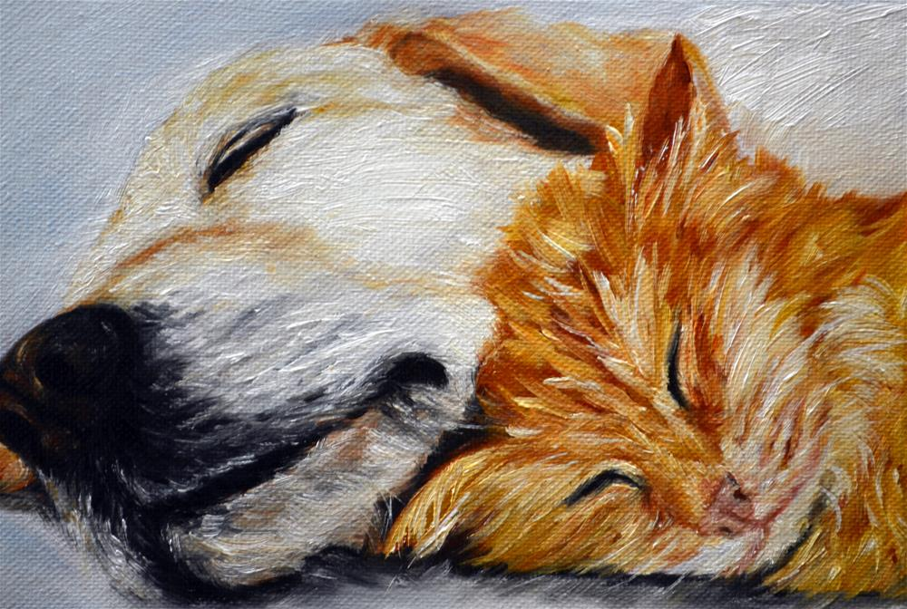 """Labrador Retriever, Orange Cat"" original fine art by Sun Sohovich"