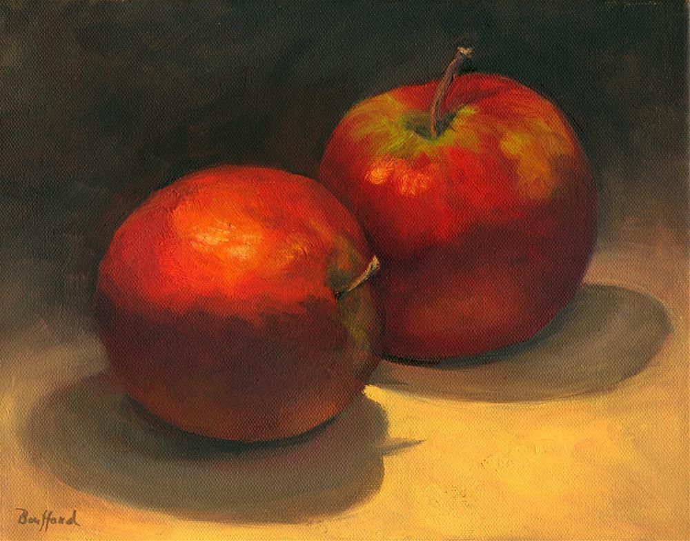 """Two Red Apples ~ Framed"" original fine art by Vikki Bouffard"