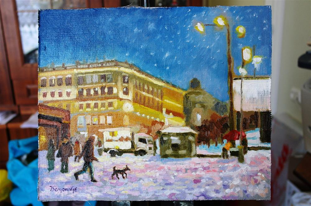 """it's snowing"" original fine art by Yuriy Semyonov"