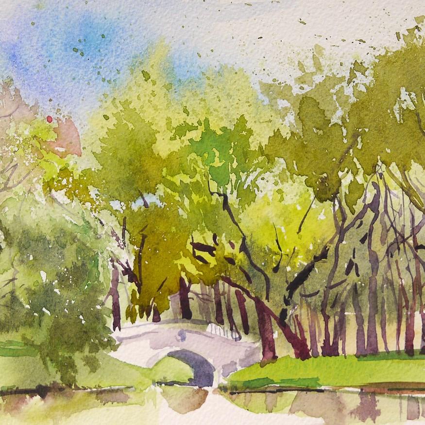"""bridge in the park"" original fine art by Beata Musial-Tomaszewska"