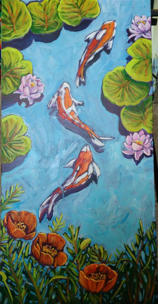 """Koi pond"" original fine art by Robyn Wellman"