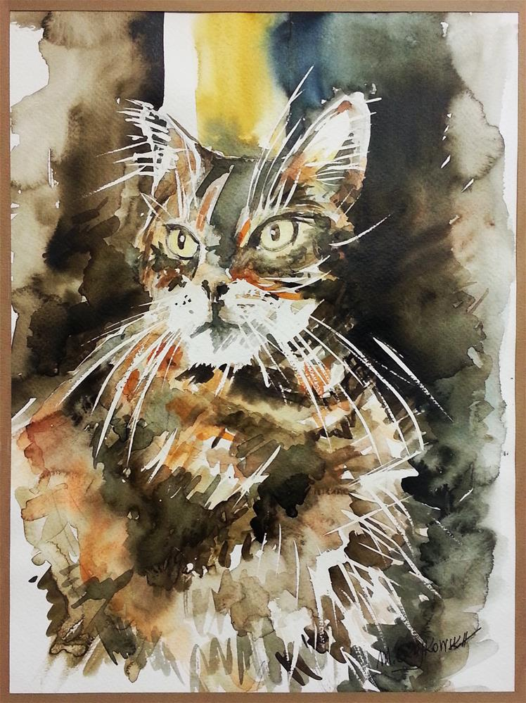 """Cat"" original fine art by Marlena Czajkowska"