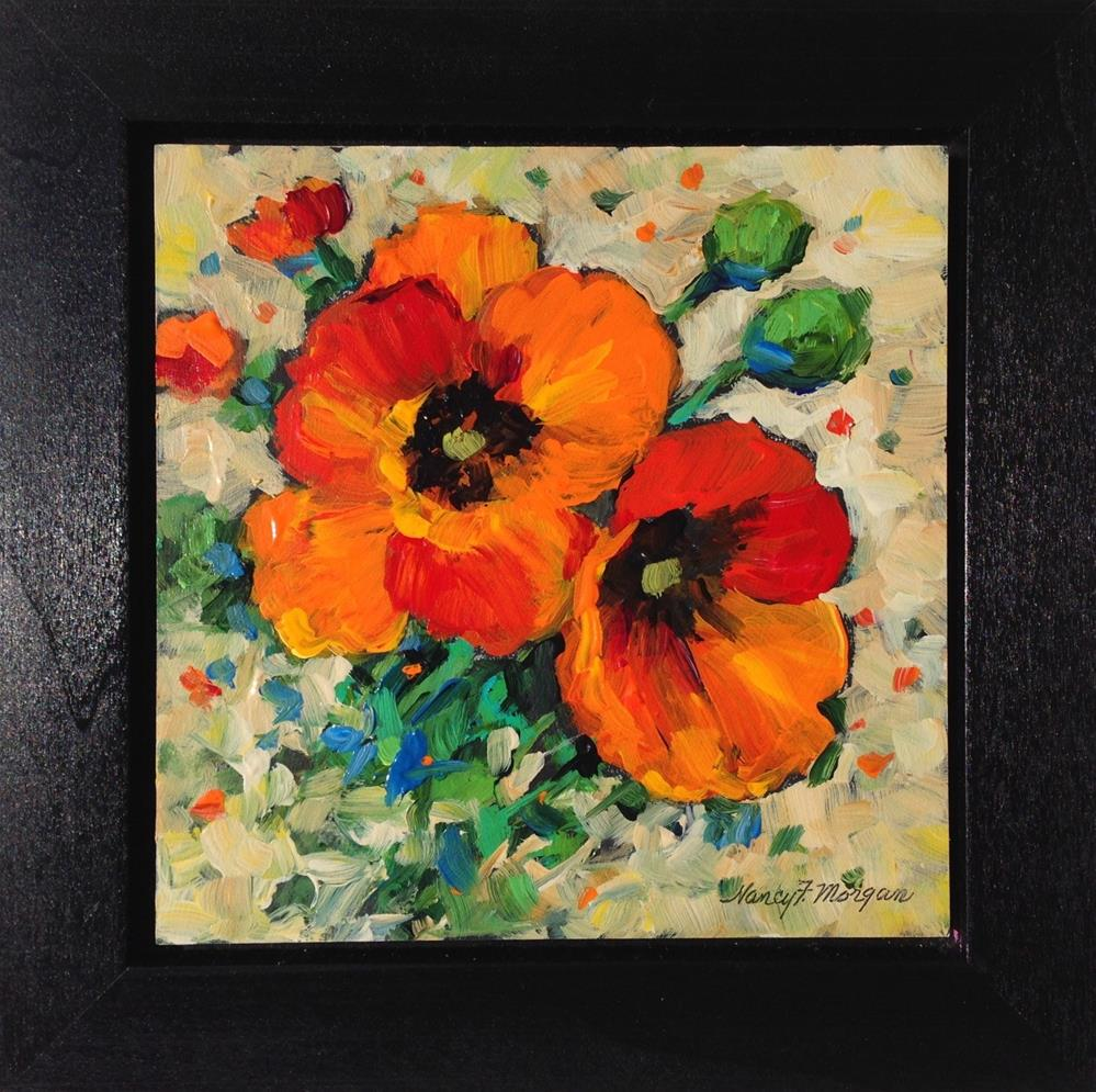 """Poppy Pair"" original fine art by Nancy F. Morgan"