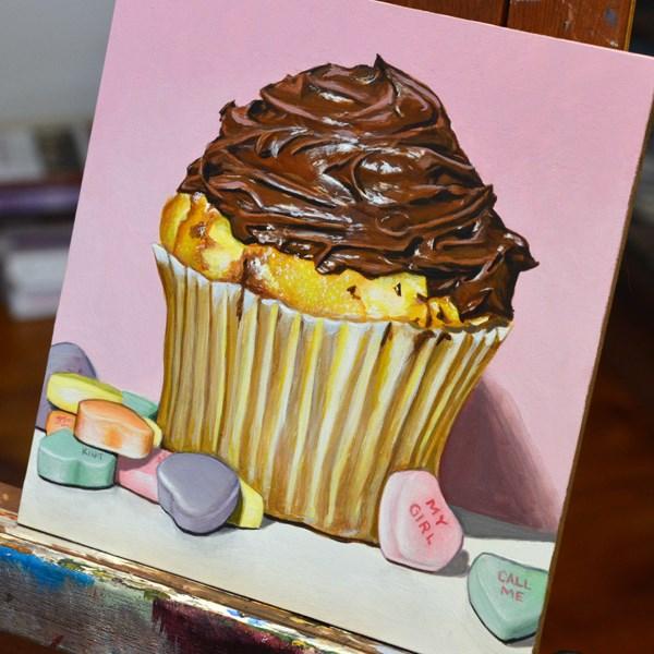 """One Big Sentimental Cupcake"" original fine art by Kim Testone"