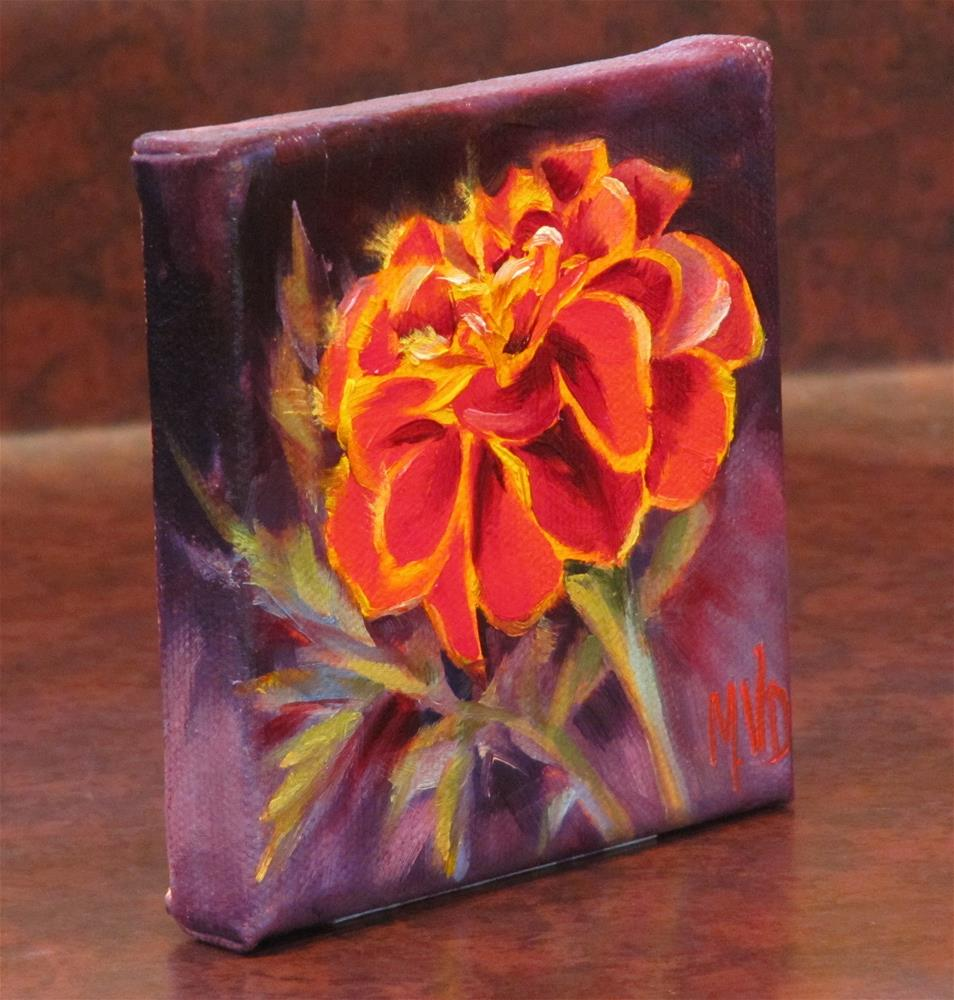 """Red Marigold"" original fine art by Mary Van Deman"