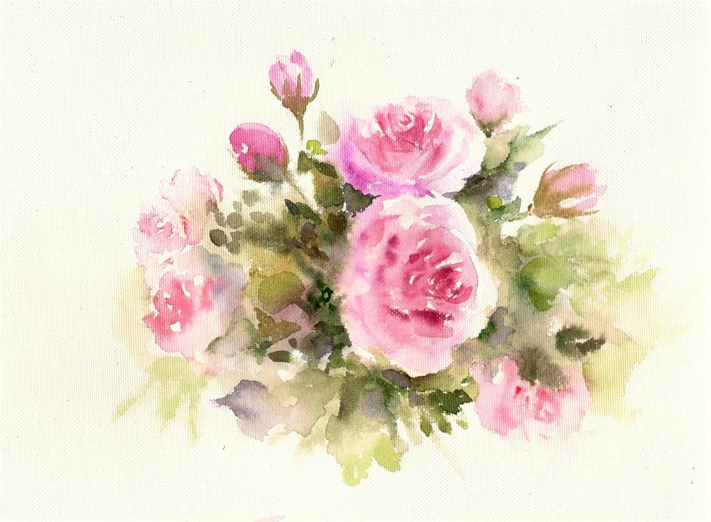 """Bunch of roses"" original fine art by Asha Shenoy S"