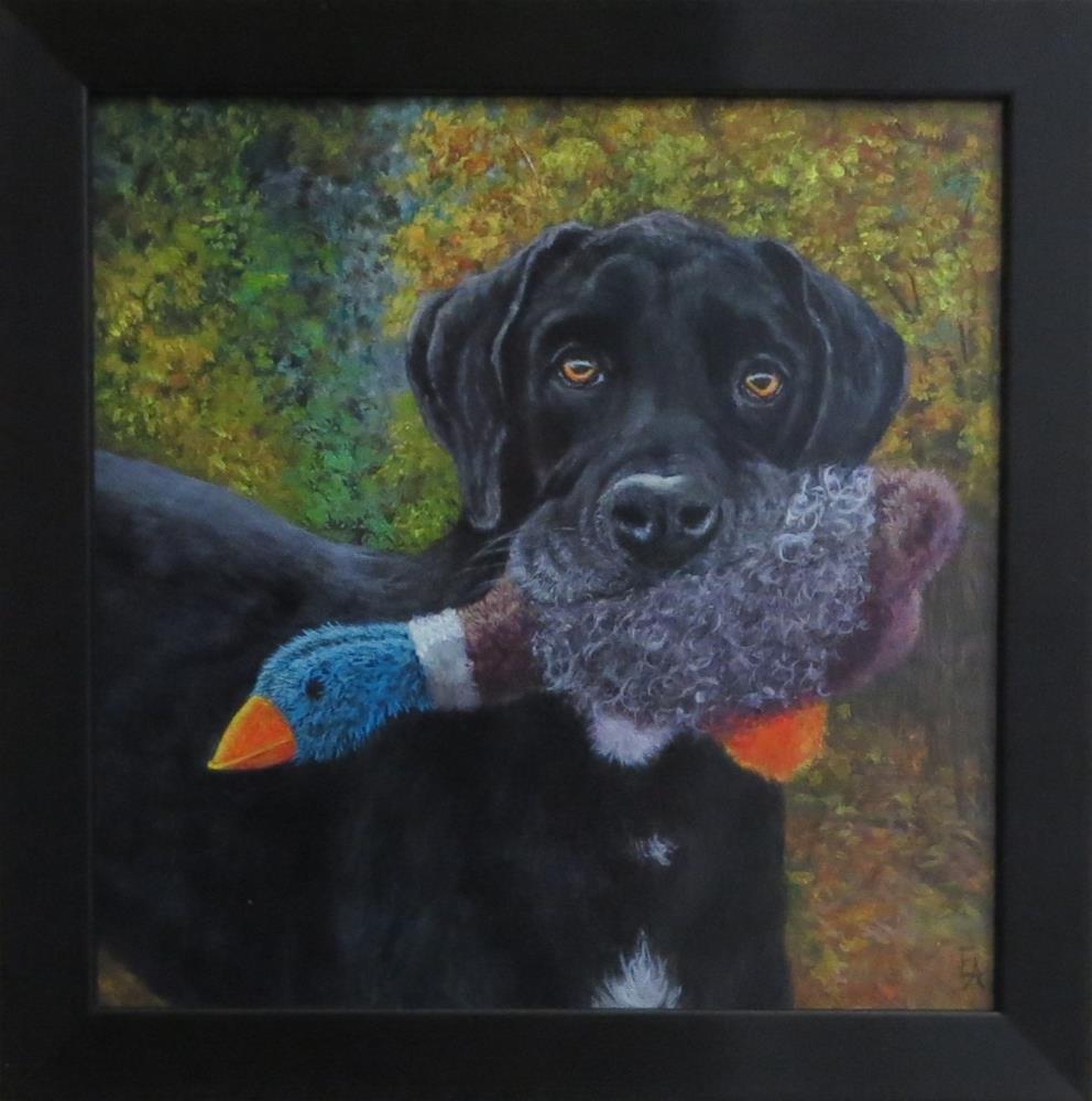 """Good Boy! (framed)"" original fine art by Elizabeth Elgin"