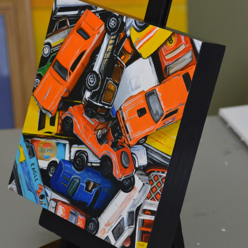 """Vintage Toy Cars"" original fine art by Kim Testone"