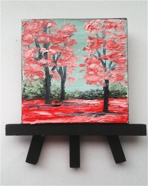 """Red Fall Trees"" original fine art by Camille Morgan"