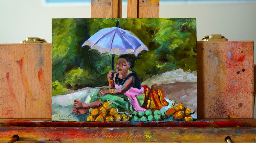 """Fruit seller"" original fine art by Dipali Rabadiya"