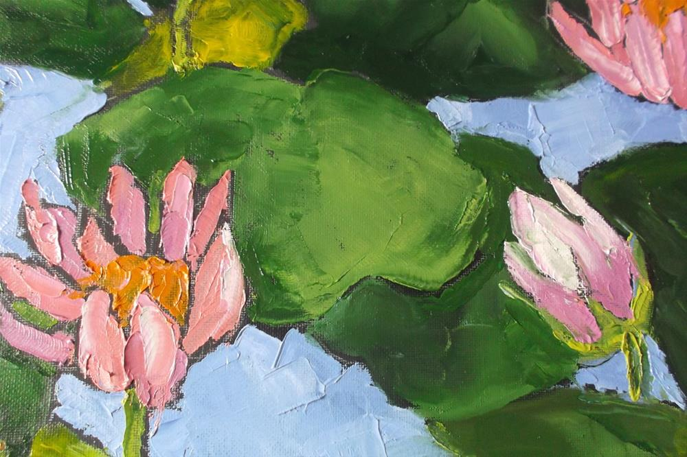 """Water Lily Lotus Pond"" original fine art by lynne french"