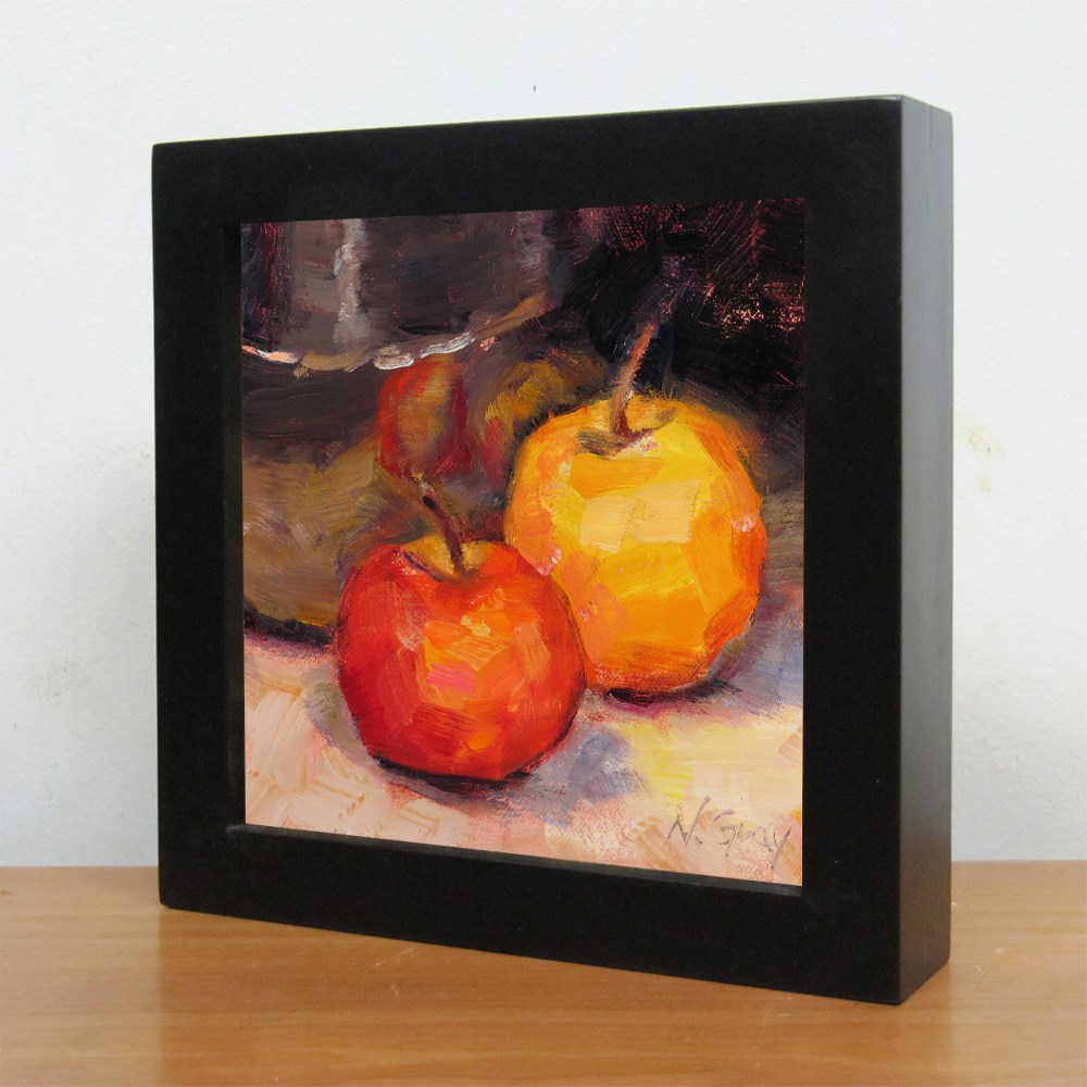 """Two Apples and Silver Bowl"" original fine art by Naomi Gray"