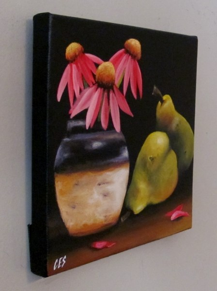 """Echinacea and Pears"" original fine art by ~ces~ Christine E. S. Code"