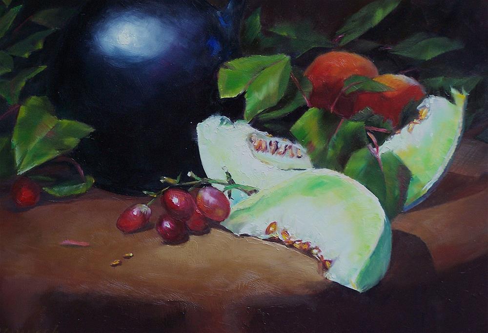 """""""Black Vase with Fruit"""" original fine art by Donna Munsch"""