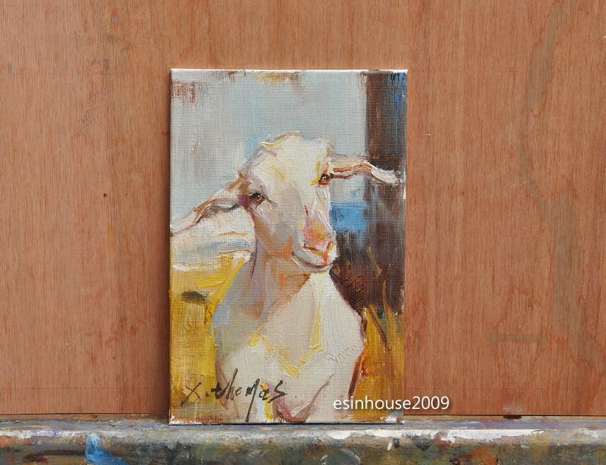 """Western Sheep portrait Original oil Painting on canvas panel Farm animals"" original fine art by Thomas Xie"