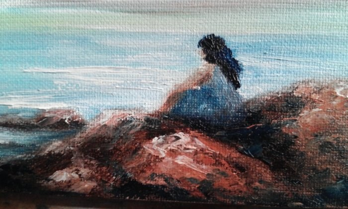 """Girl Sitting on Beach Rocks"" original fine art by Camille Morgan"