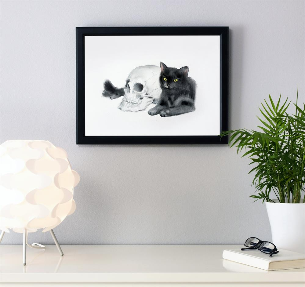"""Black Cat and a Skull -  Halloween Art"" original fine art by Olga Beliaeva"