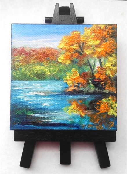 """Fall Trees Reflecting in Lake"" original fine art by Camille Morgan"
