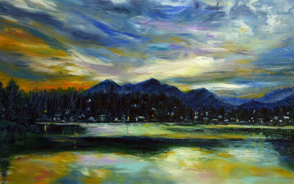 """Lake Junaluska sunset"" original fine art by Sun Sohovich"
