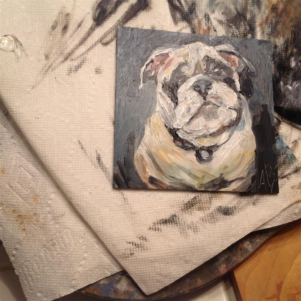 """Bull Dog Face"" original fine art by Annette Balesteri"