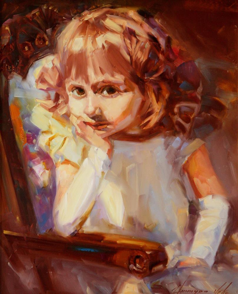 """PORTRAIT OF A GIRL ORIGINAL OIL PAINTING HANDMADE ART ONE OF A KIND"" original fine art by V Yeremyan"