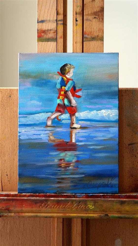 """Boy with vest on beach"" original fine art by Dipali Rabadiya"