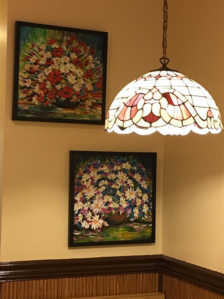 """Bouquet of Purple Daisies"" original fine art by Khrystyna Kozyuk"
