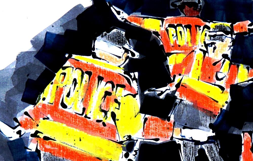 """Traffic Police by Larry Lerew #160617"" original fine art by Larry Lerew"