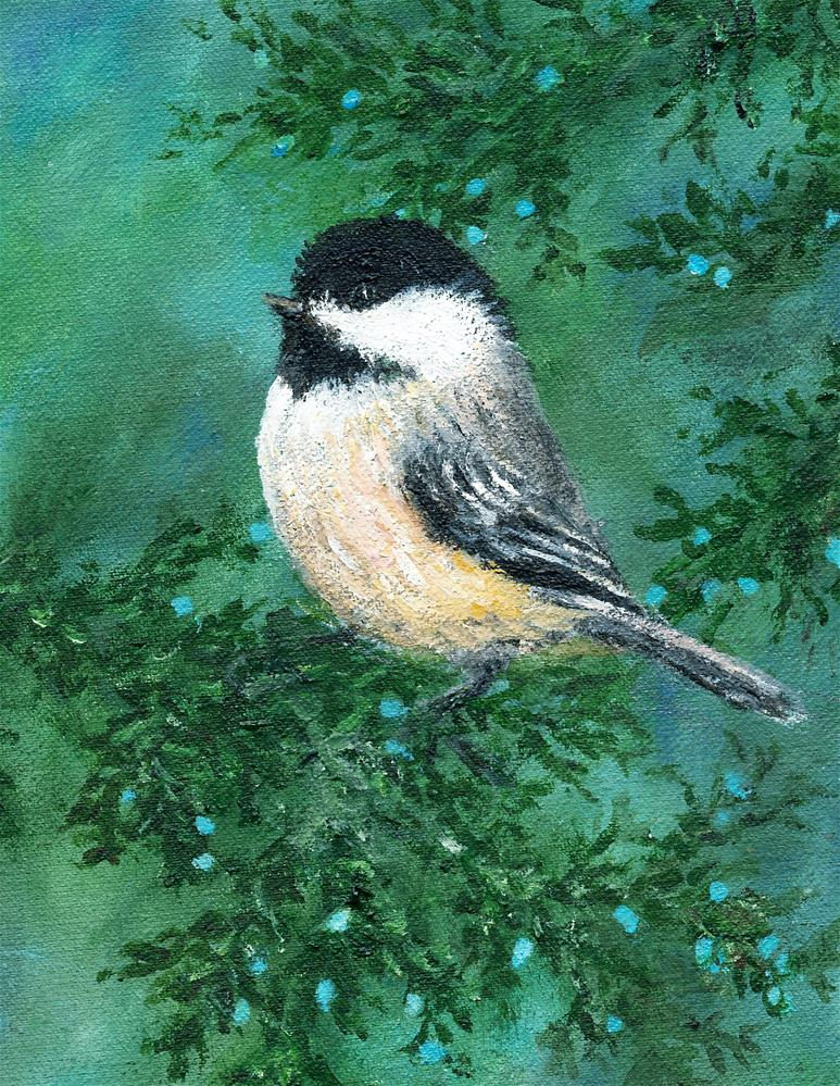 """Cedar Chickadee Bird # 2"" original fine art by Kathleen McDermott"